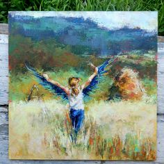 """Daily Paintworks - """"When wings grow / Little Blue Bird"""" - Original Fine Art for Sale - © Valerie Lazareva Human Figure Drawing, Paintings I Love, Oil Paintings, Fine Art Gallery, Box Art, Watercolor Flowers, Blue Bird, Cool Drawings, Impressionist"""
