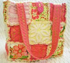 rag quilt tote with vintage chenille on etsy