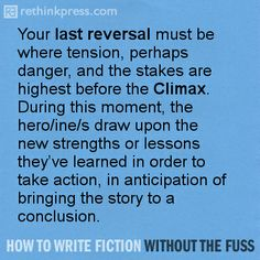 Getting to the end of Act Two. More info in http://rethinkpress.com/books/how-to-write-fiction-without-the-fuss/