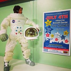 Buzz Rover Sighting A visitor to the USS Hornet Museum has spotted Buzz Rover reading over an event poster for tomorrows celebration of the Fourth of July. Maybe he will make an appearance! Tomorrow's Fourth of July event is going to be opening at 11am and will include live music, delicious food, fun family activities and a viewing platform for Bay Area fire works! Bring the family and friends out for this exciting celebration aboard the USS Hornet Museum!