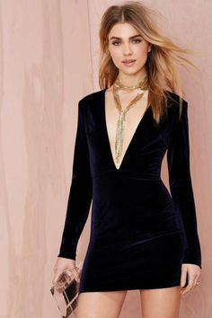 Nasty Gal Deep Midnight Mini Velvet Dress - Navy - The Party Shop $68