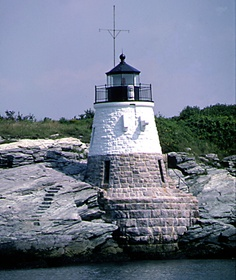 Narragansett Light, from the West Passage into the Bay...love the steps cut into the rocks