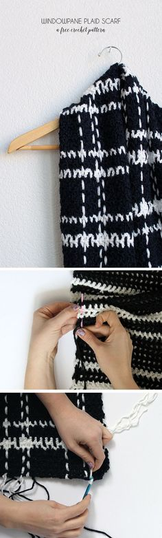 Worsted weight yarn and an I hook. black and white windowpane plaid crochet scarf - this is easier than it looks! - free pattern and photo tutorial Plaid Crochet, Crochet Scarf Easy, Gilet Crochet, Crochet Scarves, Diy Crochet, Crochet Shawl, Crochet Stitches, Crocheted Scarf, Crochet Style