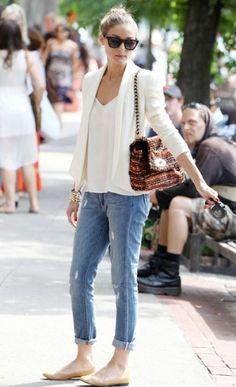 Olivia Palermo white blazer dressed down