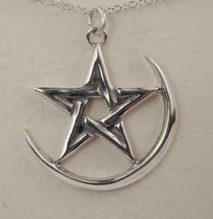 The Pentacle and Moon in Sterling Silver