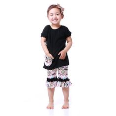 Hot Sale Girls Clothing Sets Baby Kids Clothes Outfits Black Short Sleeve Capris Girls Clothes Set Fashion Children Clothing