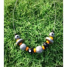 Collier céramique multi perles gris noir jaune