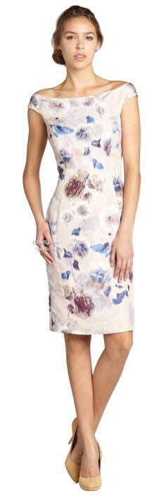 Christian Dior beige and blue floral print silk off shoulder dress - pretty..