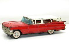 Antique Tin Toy Friction Car 1959 CADILLAC STATION WAGON Tin Vintage Metal Toy