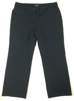Eileen Fisher L Large Women's Stretch Pants Black Straight Viscose Stretch  #EileenFisher #DressPants