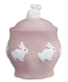 Pink Spring Bunny Ceramic Sugar Bowl