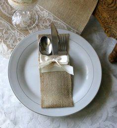 Burlap silverware holders, Wedding table decor