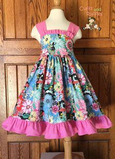 Molly ruffled sundress Alice in Wonderland fabric Kids Gown Design, Girls Frock Design, Kids Frocks Design, Baby Frocks Designs, Long Frocks For Kids, Cotton Frocks For Kids, Kids Outfits Girls, Dresses Kids Girl, Frock For Teens