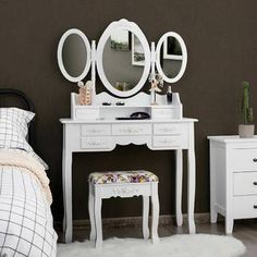 Rosdorf Park Clementina Vanity Set with Mirror Colour: White Vanity Set With Mirror, Vanity Table Set, Mirrors Wayfair, Dressing Table With Stool, Wood Table Legs, Room Decor, Room Colors, Desk And Chair Set, Vanity Set