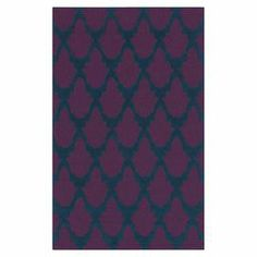 pretty rug:  Anchor vibrant decor or define areas in an open space with thistimelesshand-tufted rug. Made of polyester,it showcasesa geometric motif in marine blue and mulberry.   Product: RugConstruction Material: 100% PolyesterColor: Marine blue and mulberryFeatures: Hand-tufted Note: Please be aware that actual colors may vary from those shown on your screen. Accent rugs may also not show the entire pattern that the corresponding area rugs have.Cleaning and Care: Blot stains