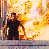 """GIF - JOSS WHEDON on this Hawkeye jump """" That's 's all Jeremy"""" SQUEEEEE!"""