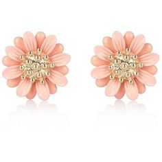 River Island Pink daisy flower stud earrings (440 INR) ❤ liked on Polyvore featuring jewelry, earrings, accessories, pink, daisy jewelry, river island, flower stud earrings, daisy earrings and pink jewelry
