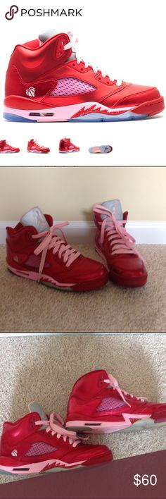 Air Jordan Retro 5 Air Jordan In red and pink, originally put out for Valentines. Great used condition.  Size 6.5 youth / 8 women's. No box. Nike Shoes