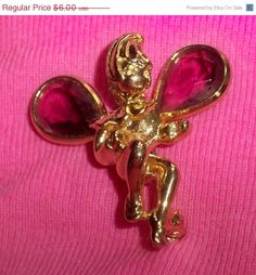 SALE Gold Tone Angel Brooch Pin Purple by VintageVarietyFinds