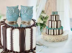 Owl Love: A Rustic Handmade Wedding | Photo by http://jordanweiland.com Cake by http://itsapieceofcakebymaggi.com Cake owls by http://etsy.com/shop/claylicious