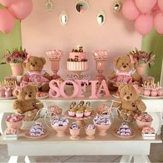 Cute Dessert Table for Baby (girl) Shower Shower Party, Baby Shower Parties, Baby Shower Themes, Baby Shower Decorations, Baby Shower Gifts, Shower Ideas, Mesa Dulces Baby Shower, Fiesta Baby Shower, Party Deco