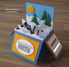 Klappkarte Klappbox Gutschein Skiwochenende Skifahren Ski Card, Cards, Card Crafts, Ski, Cash Gifts, Gift Cards, Creative Ideas, Maps, Playing Cards
