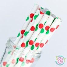 Dot Paper Straws: Red/Green