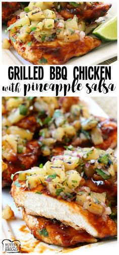 Easy Grilled Chicken smothered with thick & flavorful bbq sauce then topped with a delicious pineapple salsa is what's for dinner! Perfect for weeknights or weekend get-togethers, the pineapple salsa (Charcoal Grilling Recipes) Grilled Chicken Recipes, Grilled Meat, Easy Chicken Recipes, Grilled Chicken With Pineapple, Grilled Cauliflower, Grilled Vegetables, Cauliflower Recipes, Grilling Recipes, Gourmet