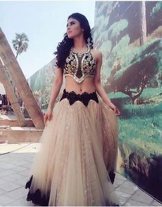 Mouni Roy / brilliant in Lehenga with Lace detail on wait and hem, with innovative Choli. Beautiful Indian Fashion via Sexy Dresses, Evening Dresses, Prom Dresses, Indian Attire, Indian Wear, Indian Dresses, Indian Outfits, Sari, Mouni Roy Dresses