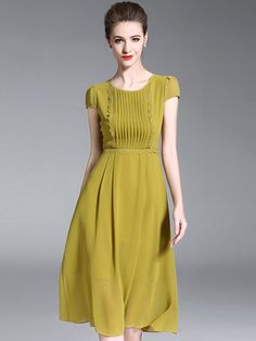 3321bb96808 Yellow Simple O-Neck Short Sleeve Fit   Flare Dress