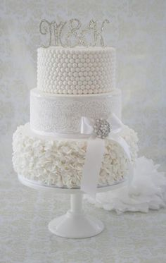 Lace Wedding Cakes Beautiful all white wedding cake with ruffles, stencilling and pearls - by CJ Sweet Treats Round Wedding Cakes, White Wedding Cakes, Elegant Wedding Cakes, Elegant Cakes, Beautiful Wedding Cakes, Gorgeous Cakes, Wedding Cake Designs, Pretty Cakes, Amazing Cakes