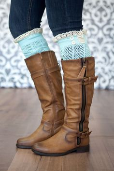 The Original Button Lace Boot Socks! Give your legs a flattering layered look with these darling boot socks! Topped with lace and matching button details, these socks add depth and feminine flair to your outfit. #boutiquesocks #bootsocks #crochet #ruffle