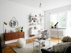 modern yet cozy living room / my scandinavian home: A Swedish apartment with a mid-century touch Home Living Room, Living Room Decor, Living Spaces, Scandinavian Apartment, Scandinavian Home, Sweet Home, Appartement Design, Apartment Interior Design, Nordic Interior