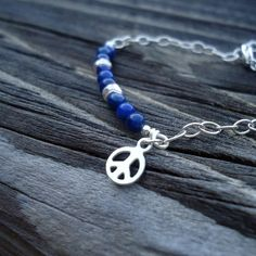 Cute lapis bracelet with peace sign charm - for a little girl!