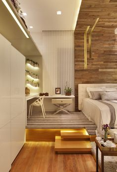 While glittering living rooms and blinding entryways are often the rule, Luxury Master Bedroom interior design is more restrained. Interior Desing, Interior Architecture, Modern Interior, Modern Bedroom, Bedroom Decor, Bedroom Furniture, Bed Design, House Design, Loft Stil