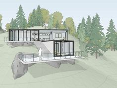 The all-new sketchup 2020 is here! Now you can learn all about what you get in sketchup 2020, and how can you upgrade, all in this article. Autocad Architecture, Modern Architecture, Houses On Slopes, Haus Am Hang, Hillside House, Casas Containers, House On A Hill, House Floor Plans, Building A House