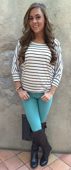 Stunning stripes top. 3/4 length sleeves.