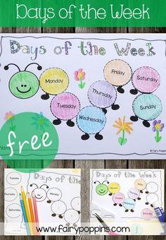 Days of the week caterpillar – Fairy Poppins