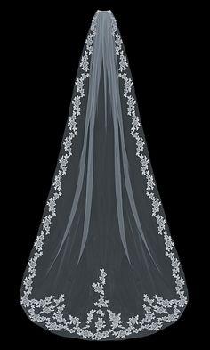 Lace Cathedral Length Wedding Veil enVogue V1597C - Affordable Elegance Bridal -