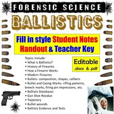 Student version is 4-pages and a 4-page Teacher key is included as well.** Fill-in packets come as both PDF and Word (.docx) files so you can edit the document as needed.The Ballistics Notes cover the following topics:• What is Ballistics?• History of Firearms• How a Firearm Works• Modern Firearms• ... Forensic Science, Science Resources, Forensics, Firearms, Fill, It Works, Presentation, Pdf, Notes