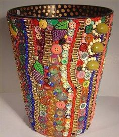Bead and Button Art Waste Basket