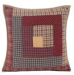 """Country Primitive Millsboro Quilted Toss Pillow Cover 16"""" Rustic Log Cabin"""