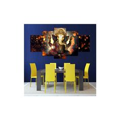5Pcs Ganesha Painting Abstract Print (€9,34) ❤ liked on Polyvore featuring home, home decor, wall art, white, cafe painting, white wall art, framed wall art, canvas home decor and white home decor