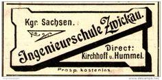 Original-Werbung/Anzeige 1898 - INGENIEURSCHULE ZWICKAU - ca. 45 x 20 mm