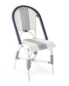 We took the same silhouette and chic woven details of our beloved Riviera Side Chair and made it even more fabulous with a sporty stripe. Like its predecessor, it's gorgeous indoors or out, but a powdercoated aluminum frame means it withstands weather all year long (making it all the lovelier for your life alfresco).