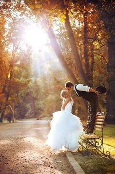 Park bench bride and groom photos