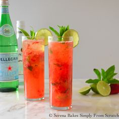 Light and refreshing Strawberry Mojitos.