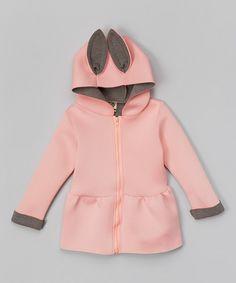 Pink & Gray Hooded Peplum Jacket - Infant, Toddler & Girls