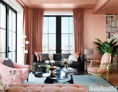 Black furniture grounds the living room and lends an extra note of sophistication in the living room of a New York City apartment designed by Jamie Drake. Walls are painted Salmon Peach in Benjamin Moore Aura. Room Color Schemes, Room Colors, Paint Colors, Pale Dogwood, Living Room Furniture, Living Room Decor, Pink Living Room Paint, Dining Room, Dining Area