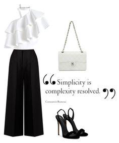 """Outfit blanco y negro"" by celestegendra on Polyvore featuring moda, Chicwish, Giuseppe Zanotti, Chanel y Joseph"